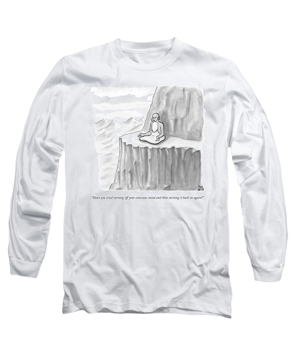 Meditating Long Sleeve T-Shirt featuring the drawing An Old Man Gives Metaphysical Advice by Paul Noth