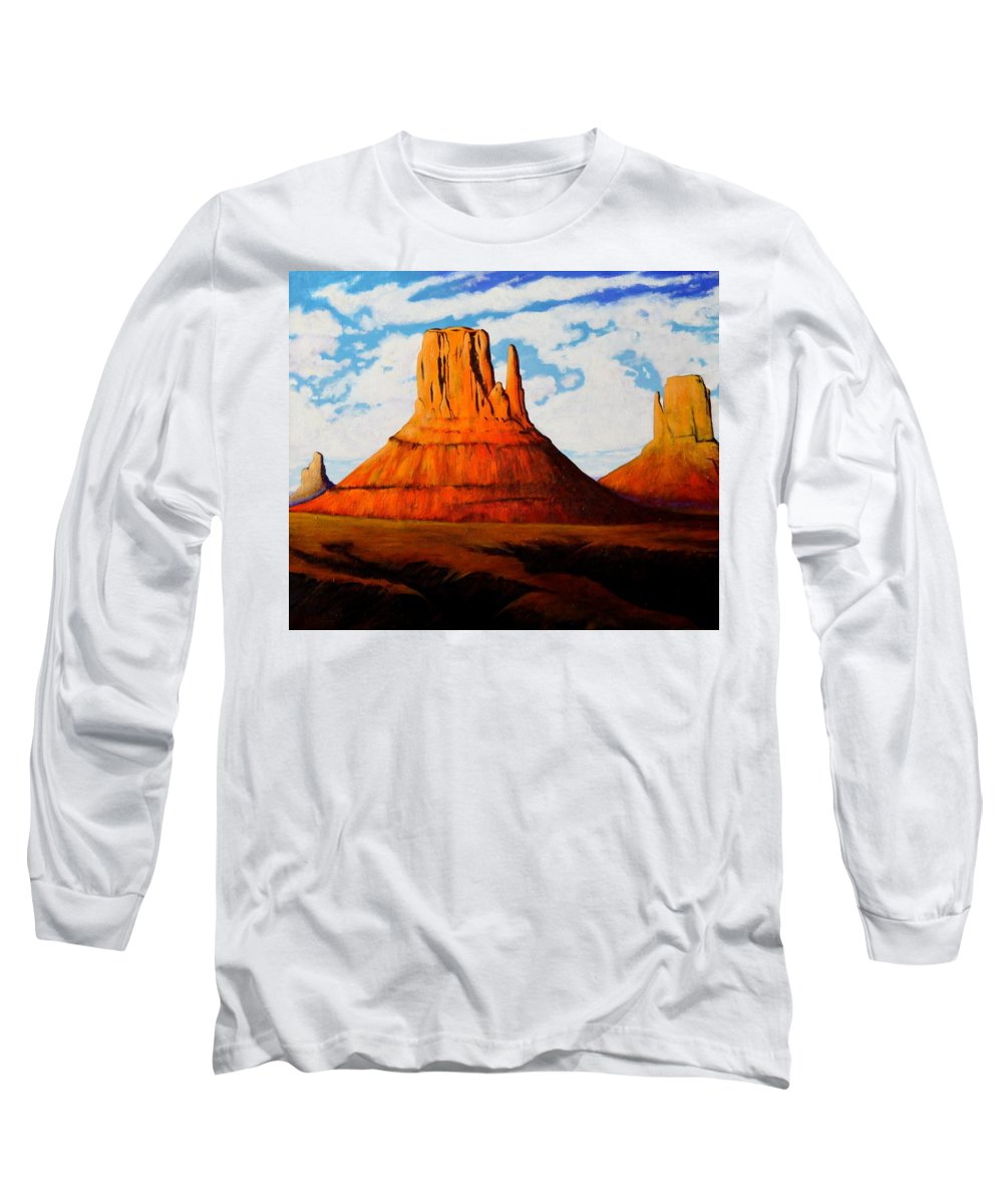Landscape Of Western Usa Long Sleeve T-Shirt featuring the painting Ancient Land Monument Valley by Joe Triano