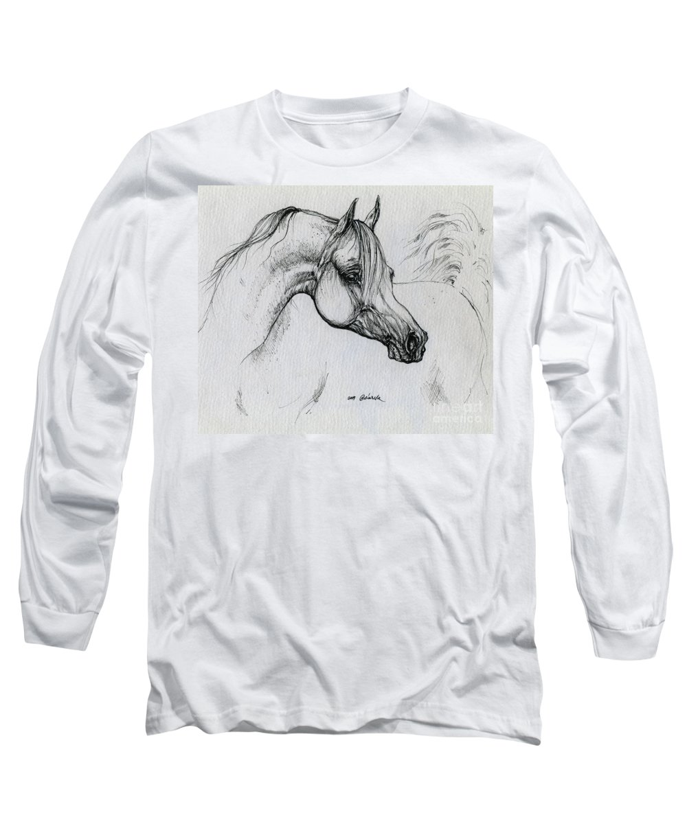 Horse Long Sleeve T-Shirt featuring the drawing Arabian Horse Drawing 28 by Angel Tarantella