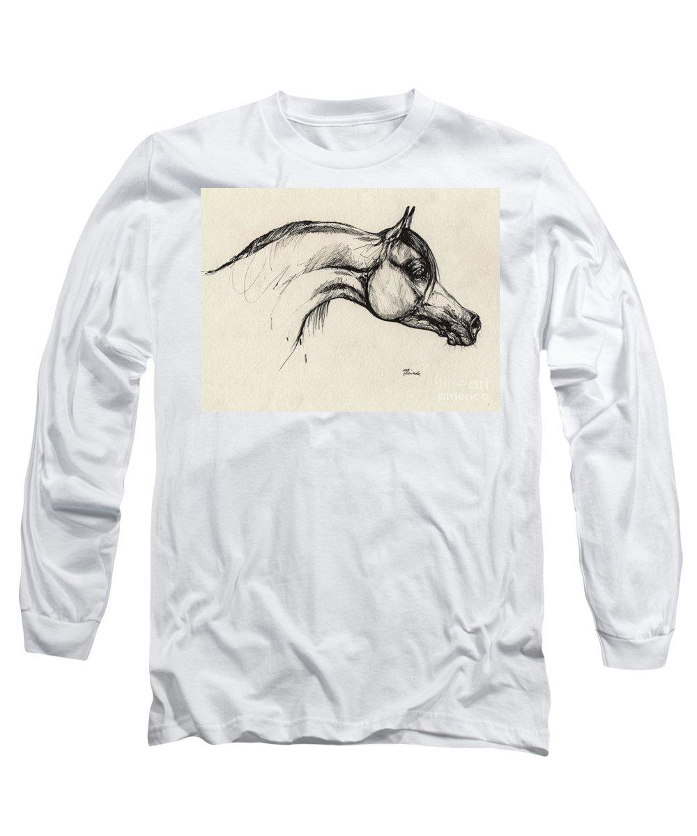 Horse Long Sleeve T-Shirt featuring the drawing Arabian Horse Drawing 30 by Angel Tarantella