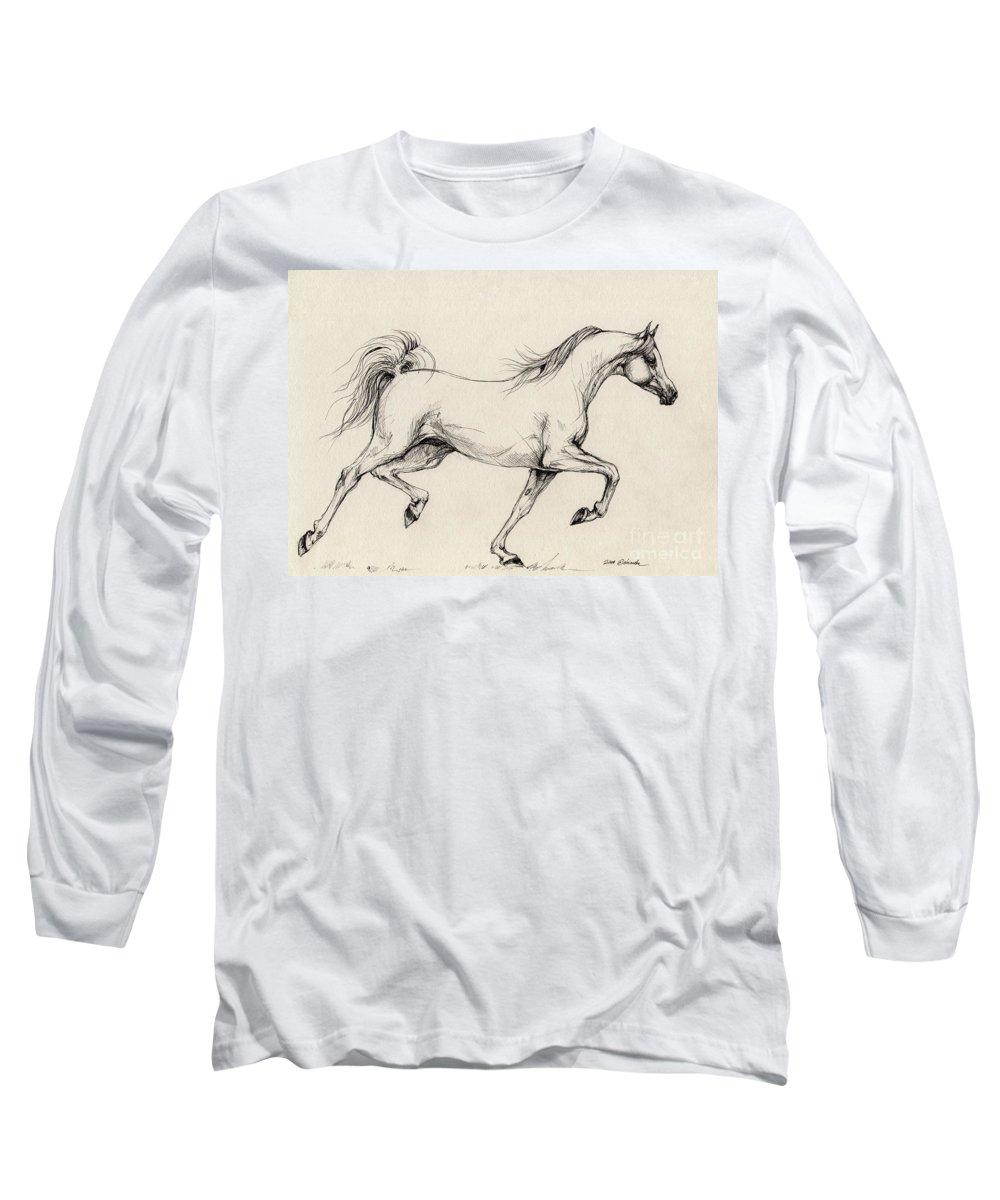 Grey Long Sleeve T-Shirt featuring the drawing Arabian Horse Drawing 31 by Angel Tarantella