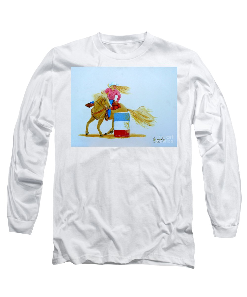 Rodeo Long Sleeve T-Shirt featuring the painting Barrel Racer by Anthony Dunphy