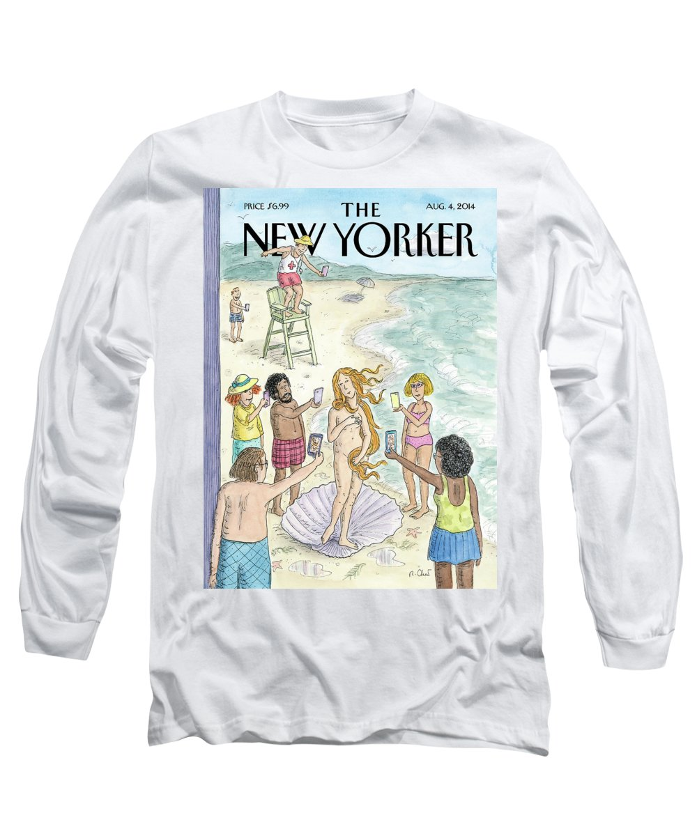 Beach Long Sleeve T-Shirt featuring the painting Venus On The Beach by Roz Chast