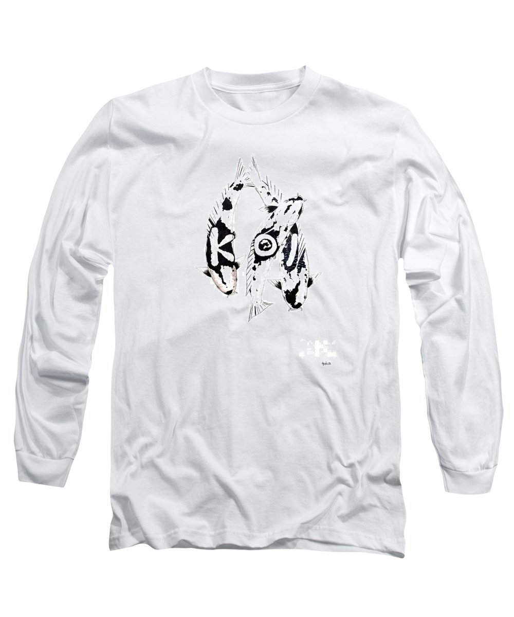 Tattoo Nishikigoi Carp Koi Paintint Art Kichi Gordon Lavender Waddinton Chinese Eight 8 Painting Japanese Koi.utsuri Mono.japan Koi.carp.black And White.kohaku.tancho.ogon.hi. Long Sleeve T-Shirt featuring the painting Black And White Trio Of Koi by Gordon Lavender