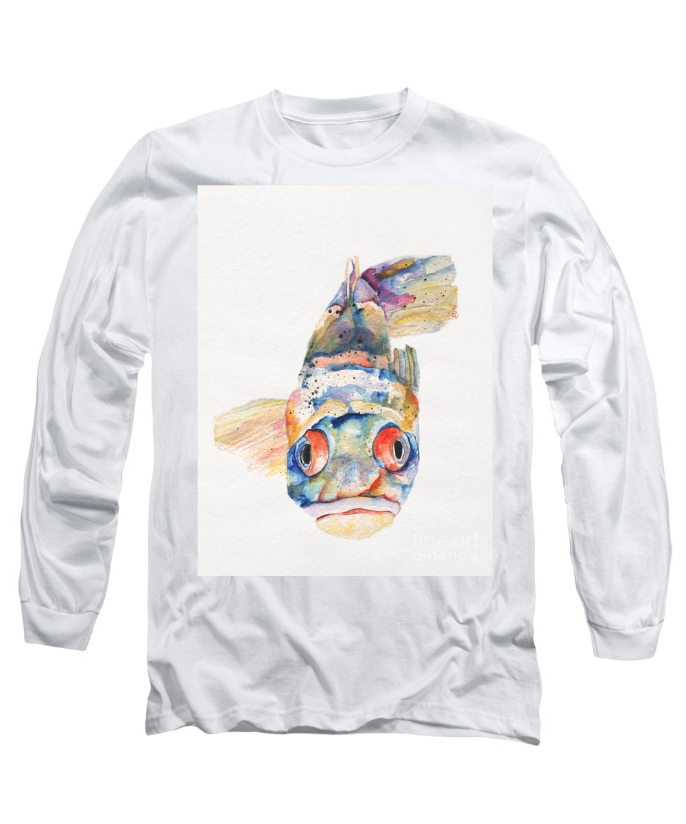 Pat Saunders-white Long Sleeve T-Shirt featuring the painting Blue Fish  by Pat Saunders-White