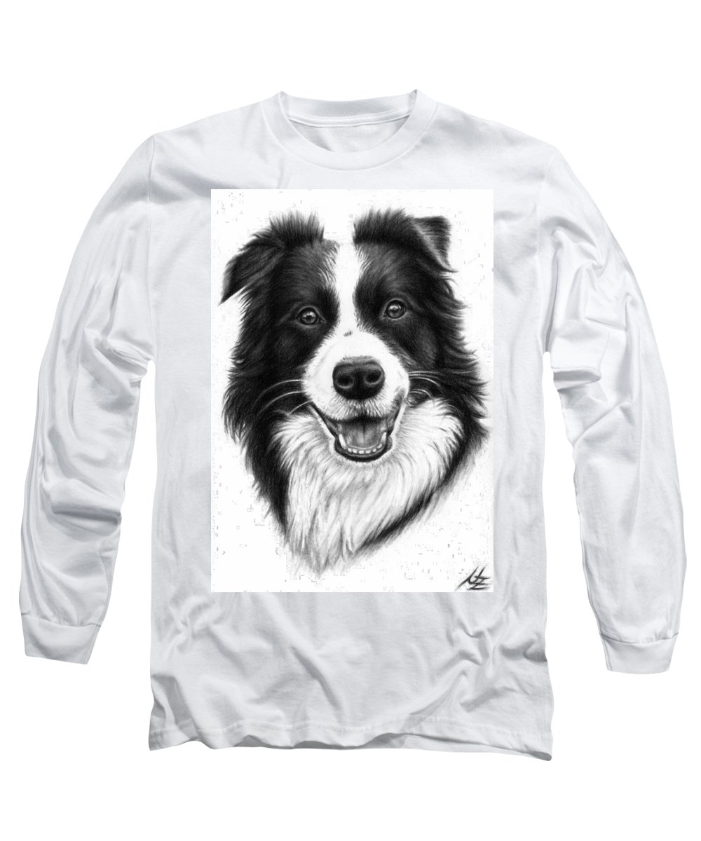 Dog Long Sleeve T-Shirt featuring the drawing Border Collie by Nicole Zeug