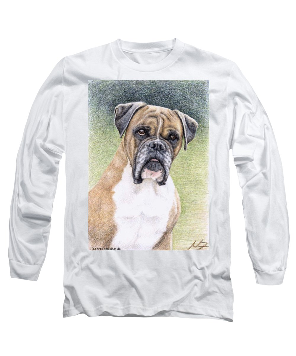 Dog Long Sleeve T-Shirt featuring the drawing Boxer Portrait by Nicole Zeug