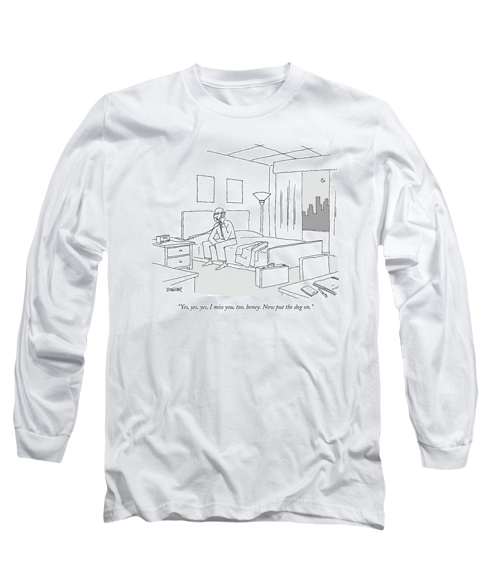 Relationships Pets Travel Problems  (businessman Sitting On A Bed In Hotel Room Talking On The Phone.) 121246 Jzi Jack Ziegler Topziegler Long Sleeve T-Shirt featuring the drawing Businessman Sitting On A Bed In Hotel Room by Jack Ziegler