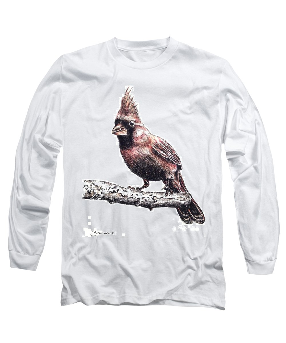 Ink Sketch Long Sleeve T-Shirt featuring the drawing Cardinal Male by Katharina Filus