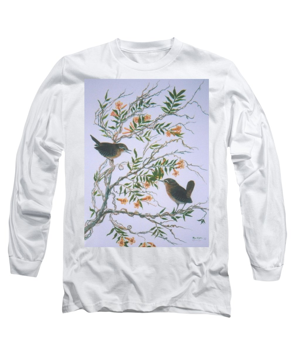 Bird; Flowers Long Sleeve T-Shirt featuring the painting Carolina Wren And Jasmine by Ben Kiger