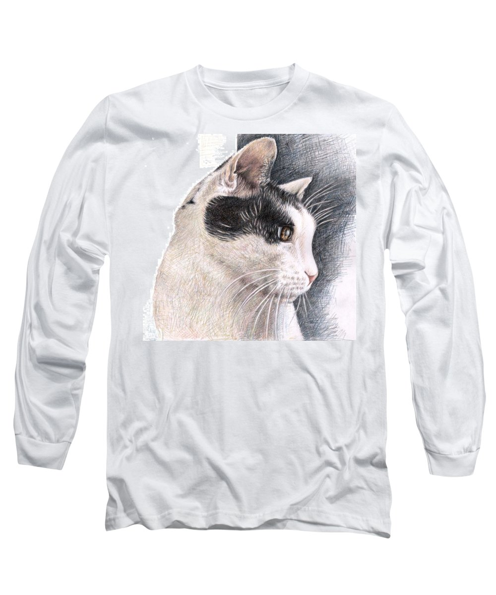 Cat Long Sleeve T-Shirt featuring the drawing Cats View by Nicole Zeug
