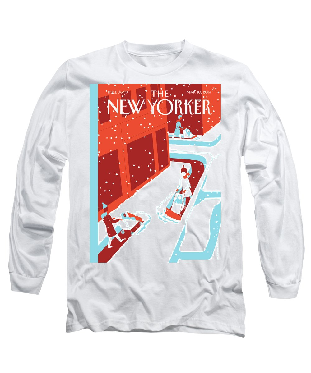 Snow Long Sleeve T-Shirt featuring the painting Snowplows by Otto Steininger