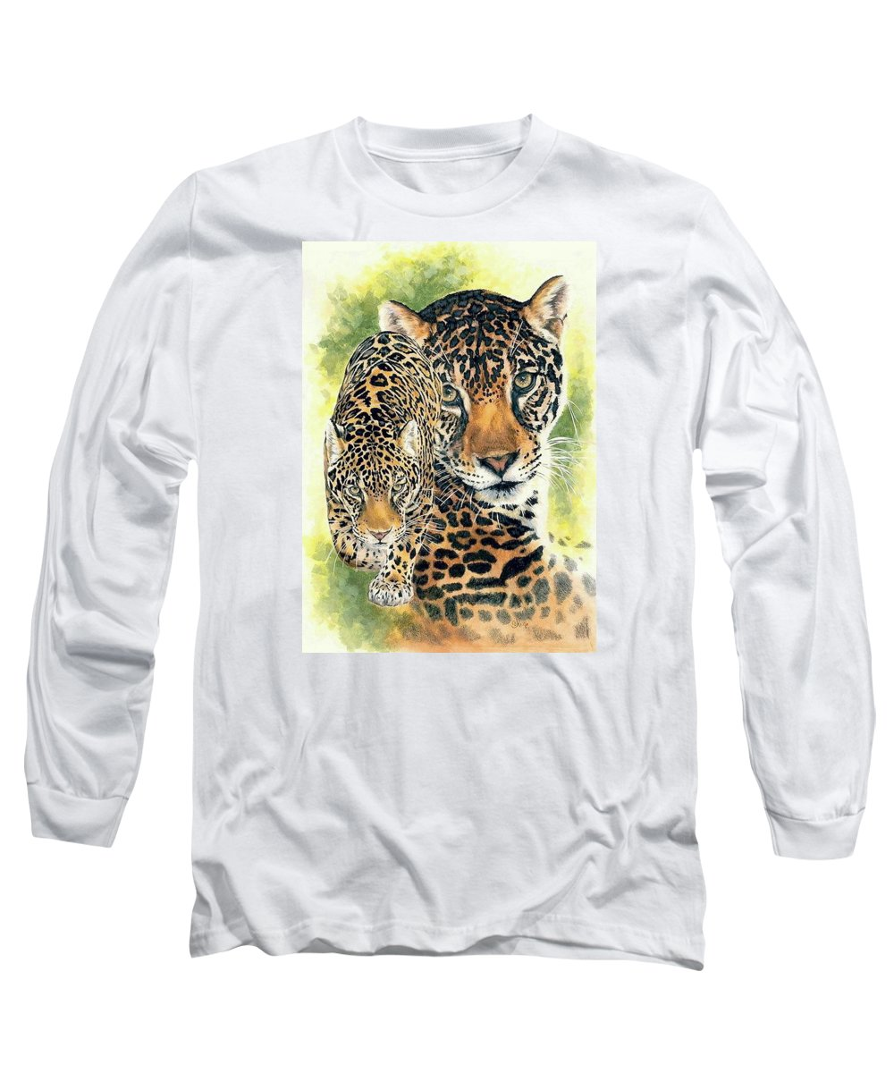 Jaguar Long Sleeve T-Shirt featuring the mixed media Compelling by Barbara Keith