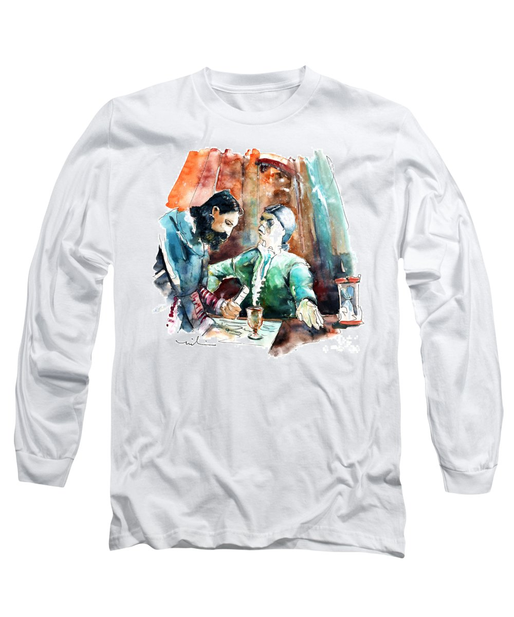 Portugal Long Sleeve T-Shirt featuring the painting Conquistadores On The Boat In Vila Do Conde In Portugal by Miki De Goodaboom