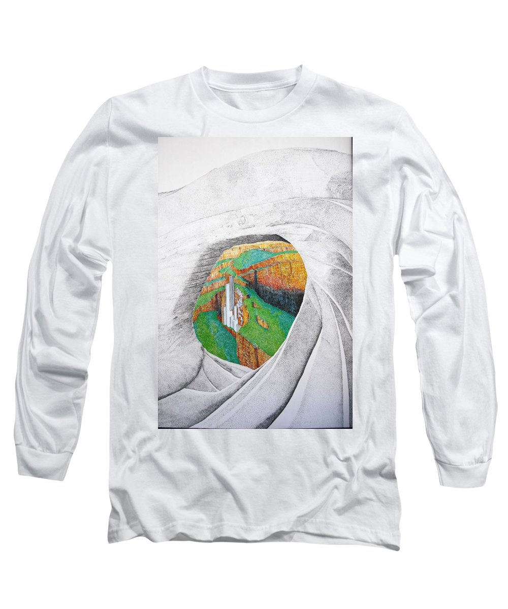 Rocks Long Sleeve T-Shirt featuring the painting Cornered Stones by A Robert Malcom