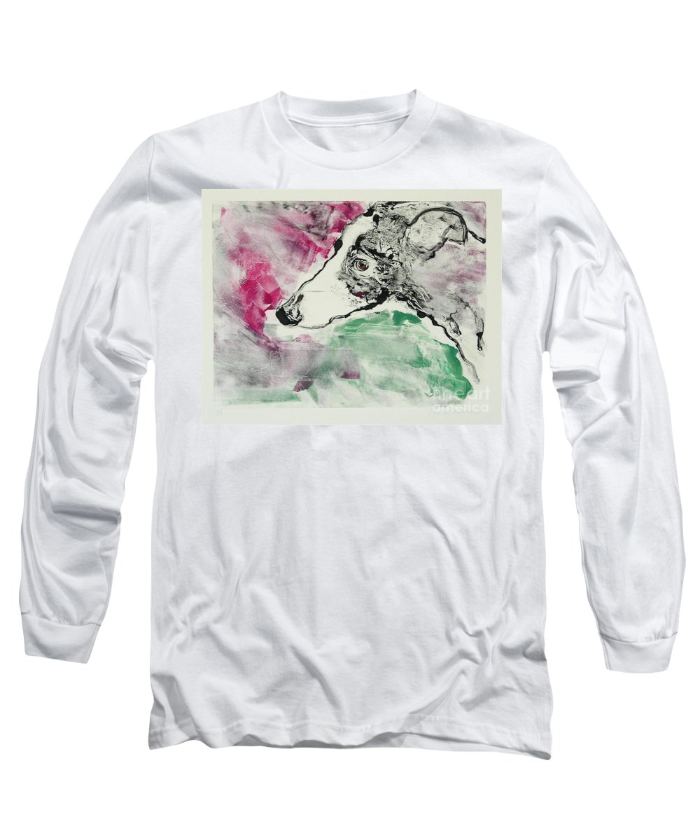 Greyhound Long Sleeve T-Shirt featuring the painting Cyrus by Cori Solomon
