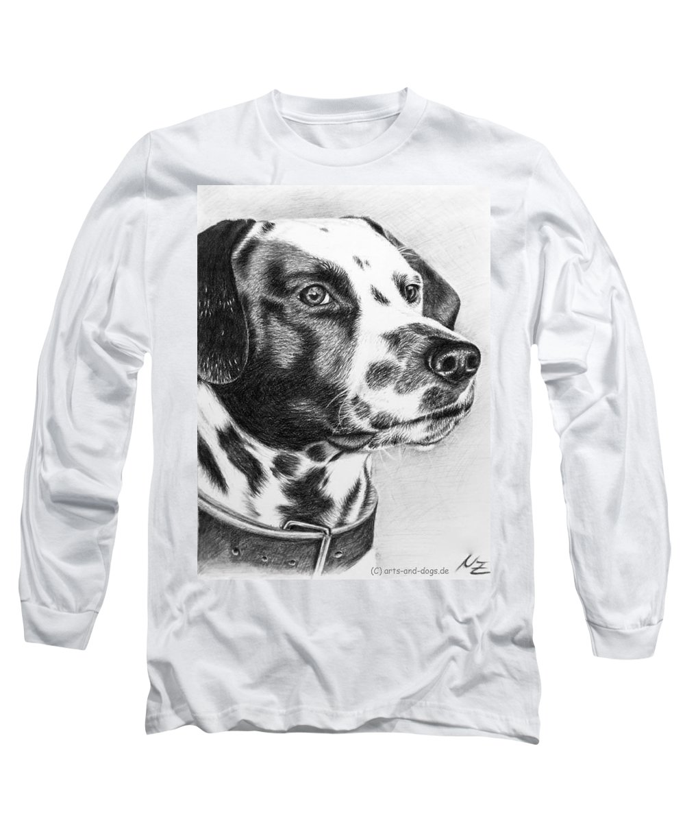 Dog Long Sleeve T-Shirt featuring the drawing Dalmatian Portrait by Nicole Zeug