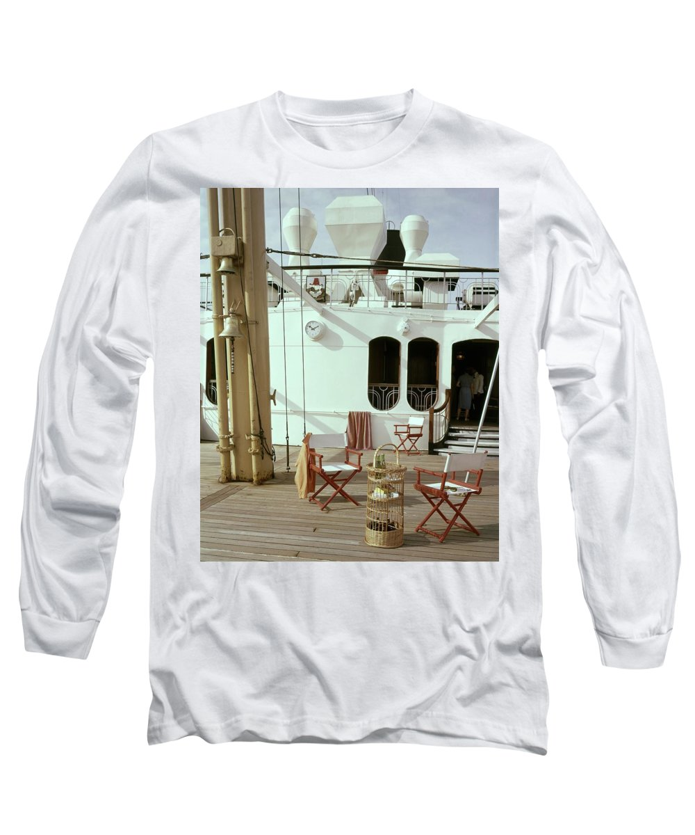 Interior Long Sleeve T-Shirt featuring the photograph Directors Chairs In Front Of The Ship The Queen by Tom Leonard