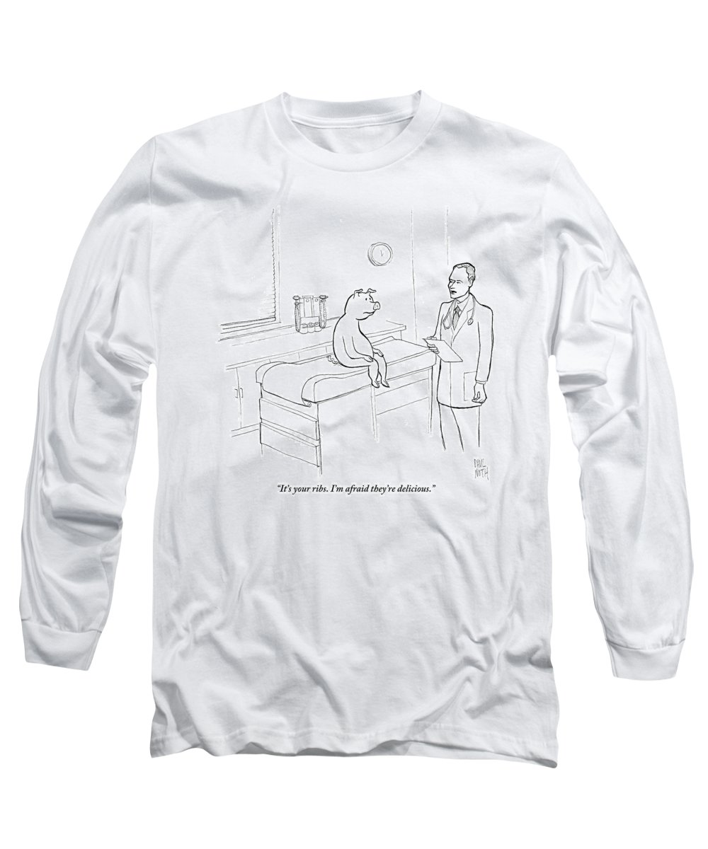 Pigs Long Sleeve T-Shirt featuring the drawing Doctor To Pig by Paul Noth
