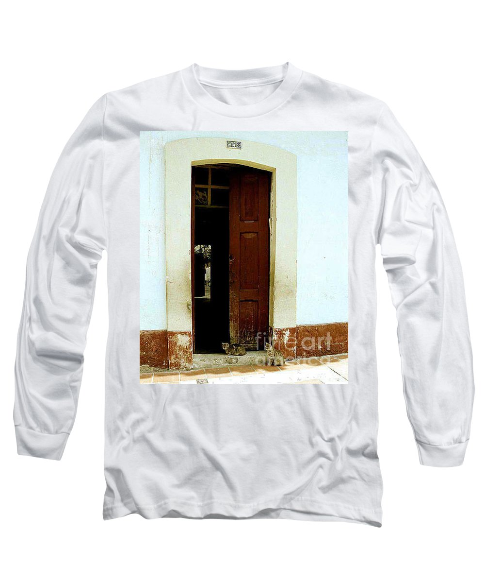 Cats Long Sleeve T-Shirt featuring the photograph Dos Puertas Con Dos Gatos by Kathy McClure