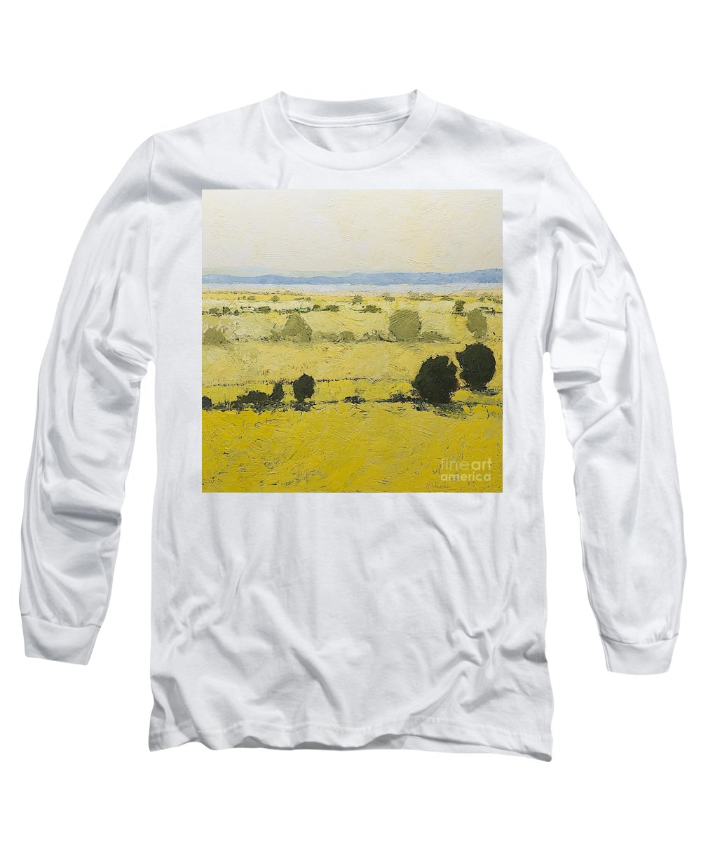 Landscape Long Sleeve T-Shirt featuring the painting Dry Grass by Allan P Friedlander