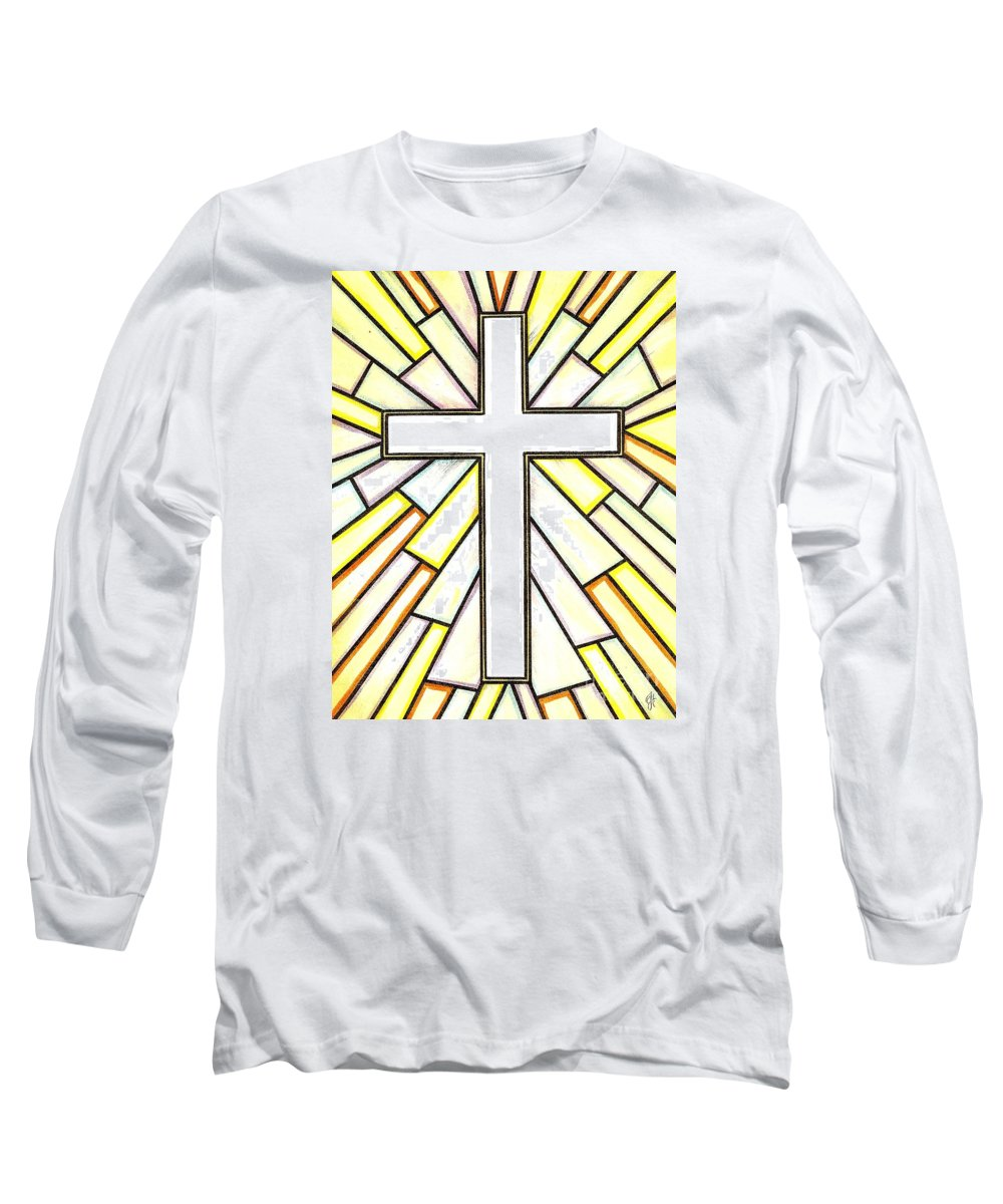 Cross Long Sleeve T-Shirt featuring the painting Easter Cross 3 by Jim Harris