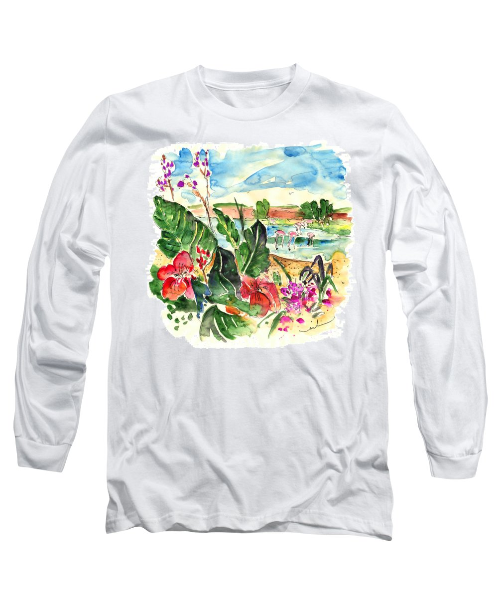 Travel Long Sleeve T-Shirt featuring the painting El Rocio 06 by Miki De Goodaboom