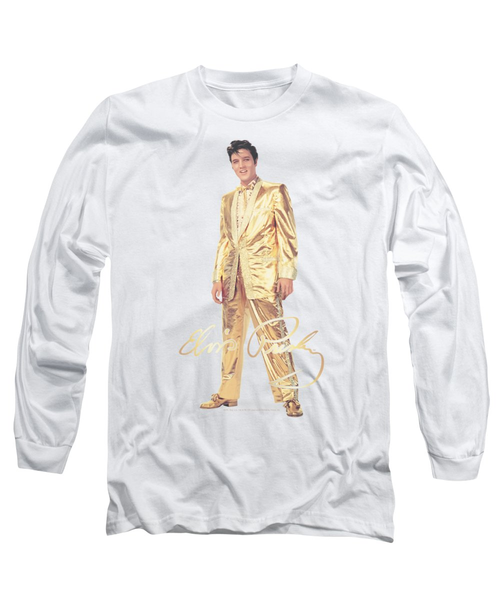 Elvis Long Sleeve T-Shirt featuring the digital art Elvis - Gold Lame Suit by Brand A