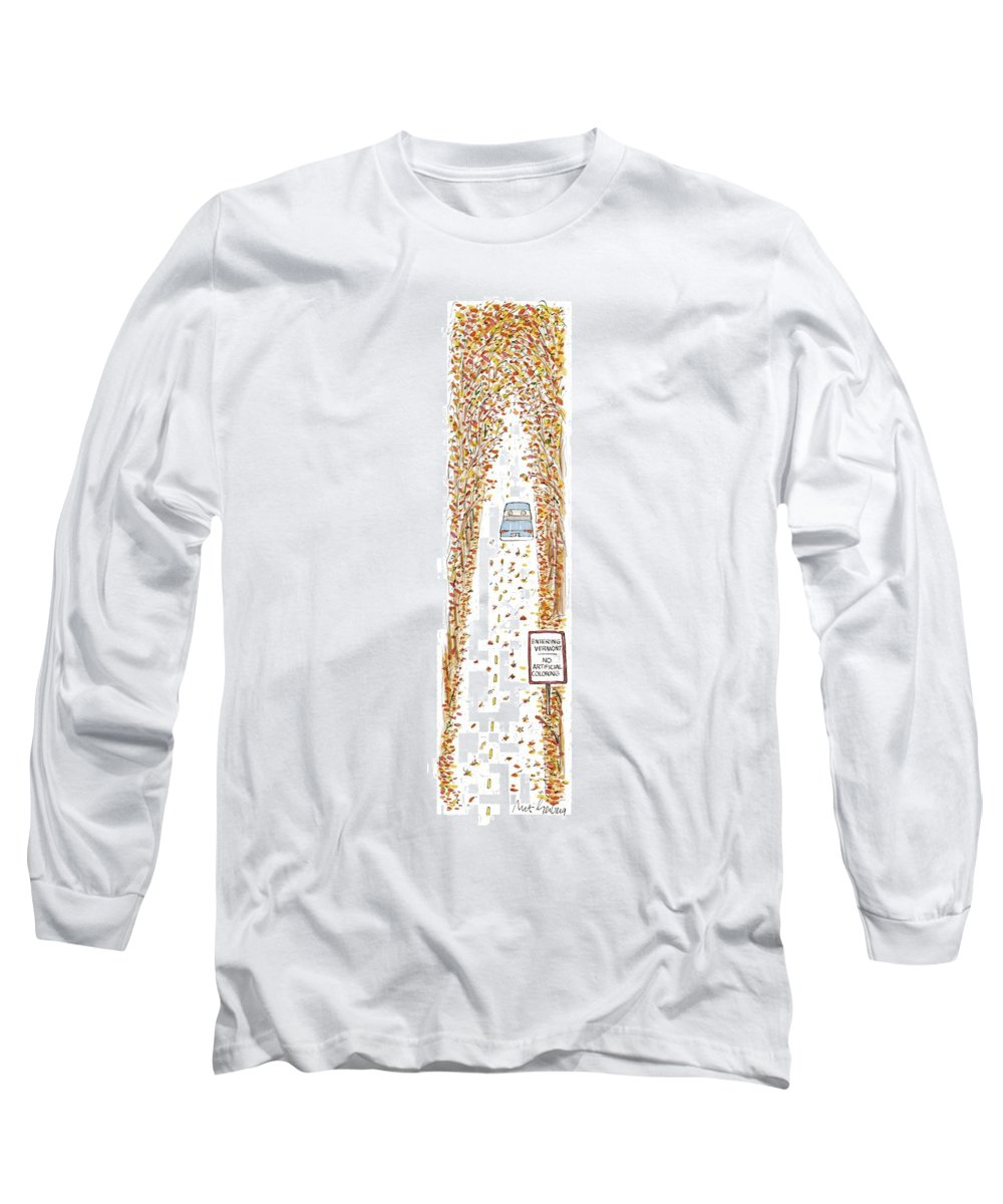 Entering Vermont Long Sleeve T-Shirt featuring the drawing Entering Vermont by Mort Gerberg