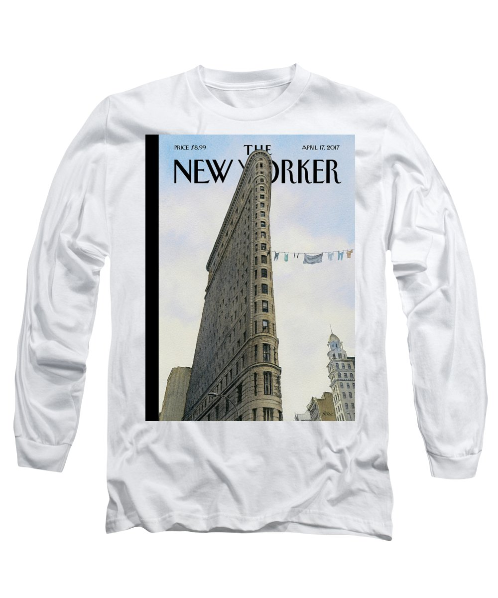 Fashion District Long Sleeve T-Shirt featuring the painting Fashion District by Harry Bliss