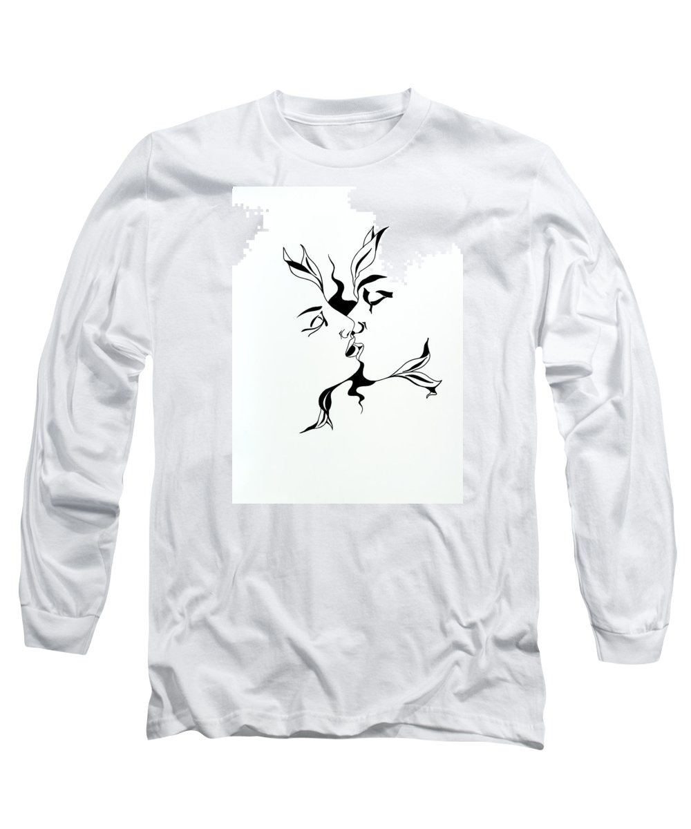 Love Long Sleeve T-Shirt featuring the drawing First Kiss by Yelena Tylkina