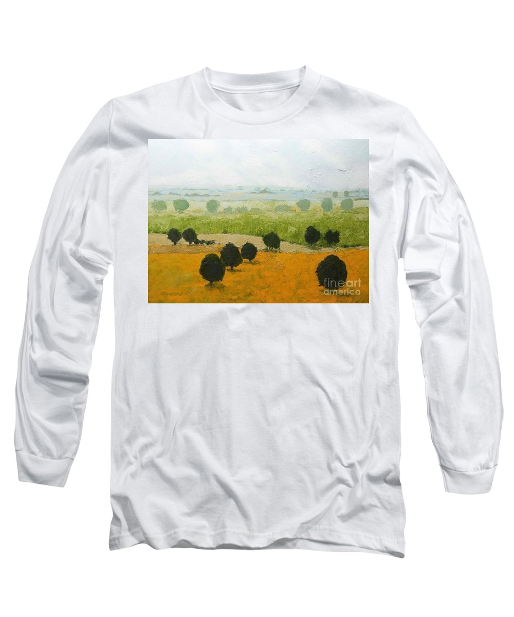 Landscape Long Sleeve T-Shirt featuring the painting Fog Lifting Fast by Allan P Friedlander