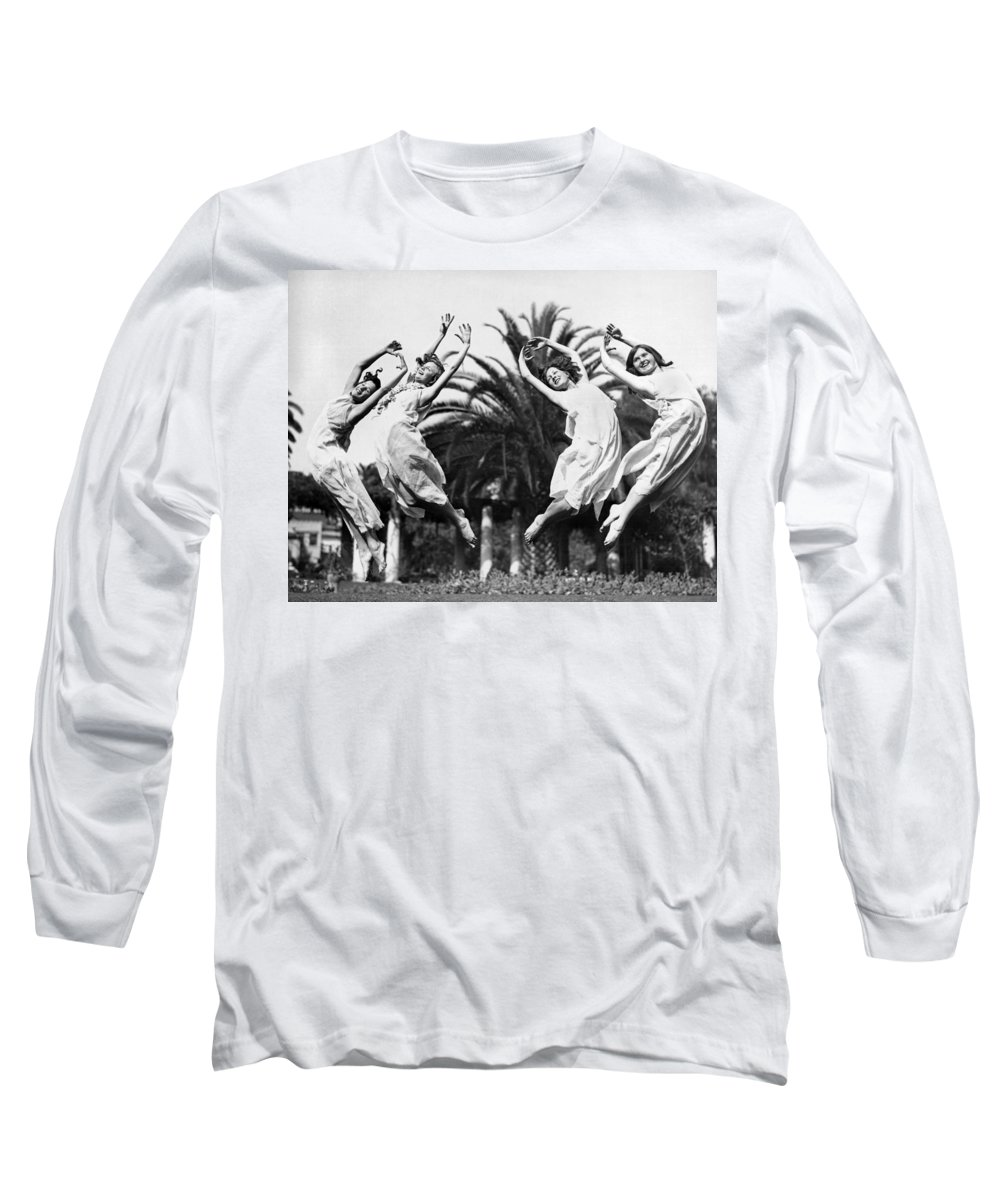 1035-11354 Long Sleeve T-Shirt featuring the photograph Four Leaping Grecian Dancers by Underwood Archives