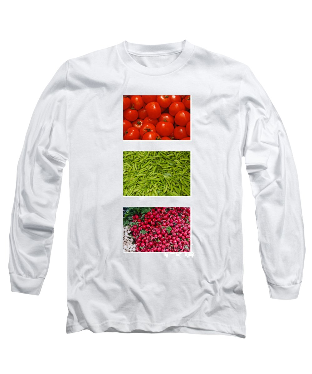 Tomato Long Sleeve T-Shirt featuring the photograph Fresh Vegetable Triptych by Thomas Marchessault