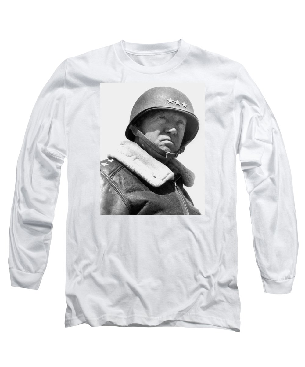 General Patton Long Sleeve T-Shirt featuring the photograph General George Patton by War Is Hell Store