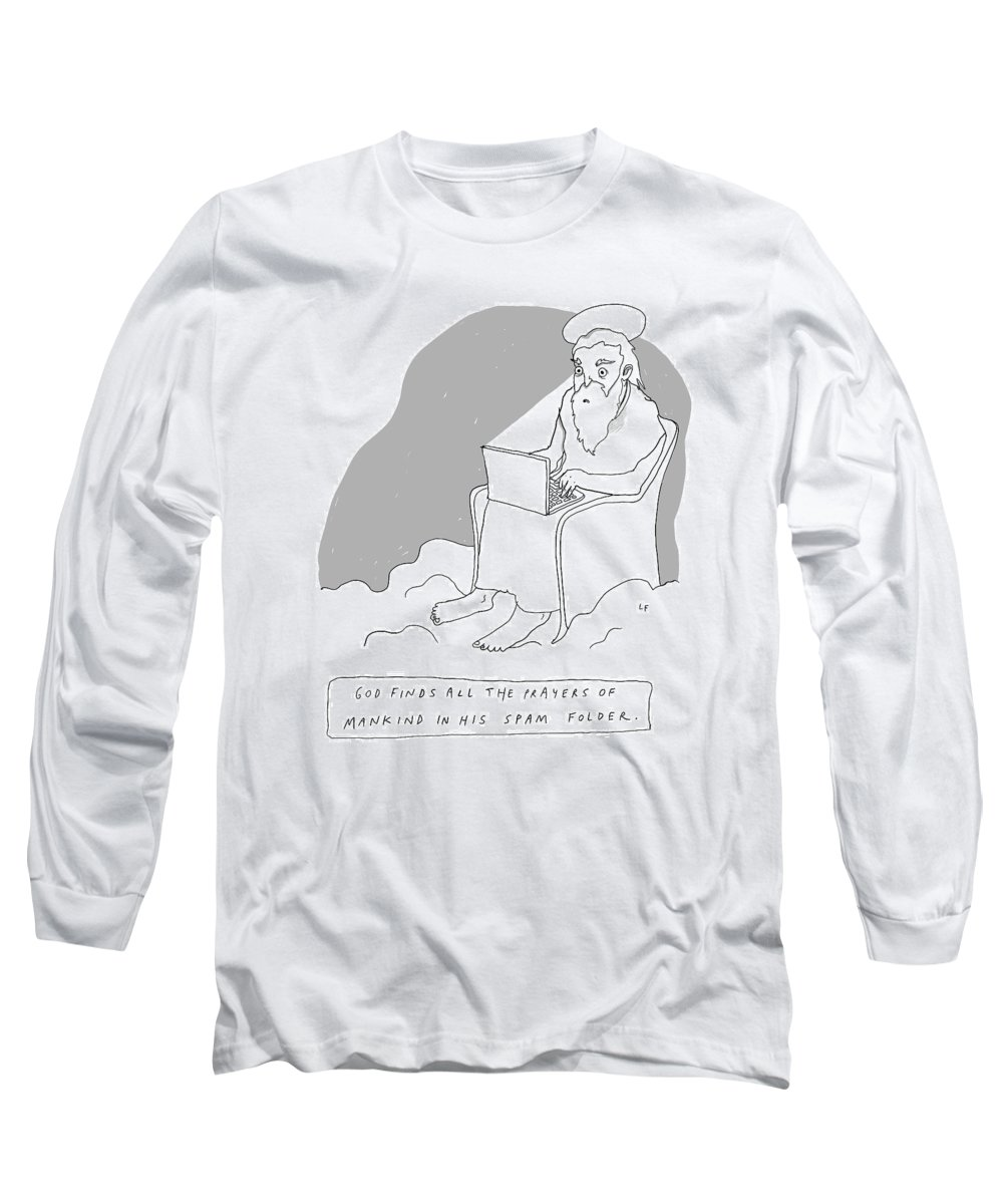 Captionless Long Sleeve T-Shirt featuring the drawing God Sits In A Throne In Heaven by Liana Finck
