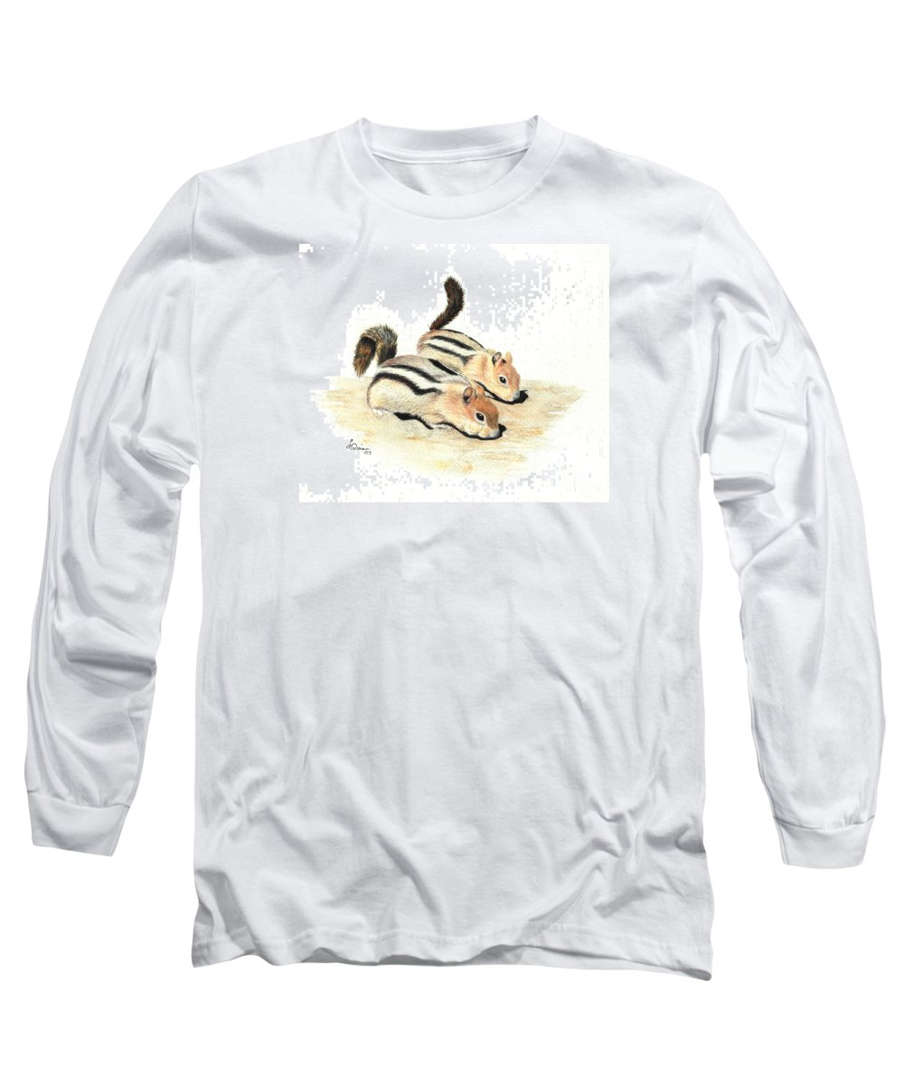 Nature Long Sleeve T-Shirt featuring the painting Golden-mantled Ground Squirrels by Lynn Quinn