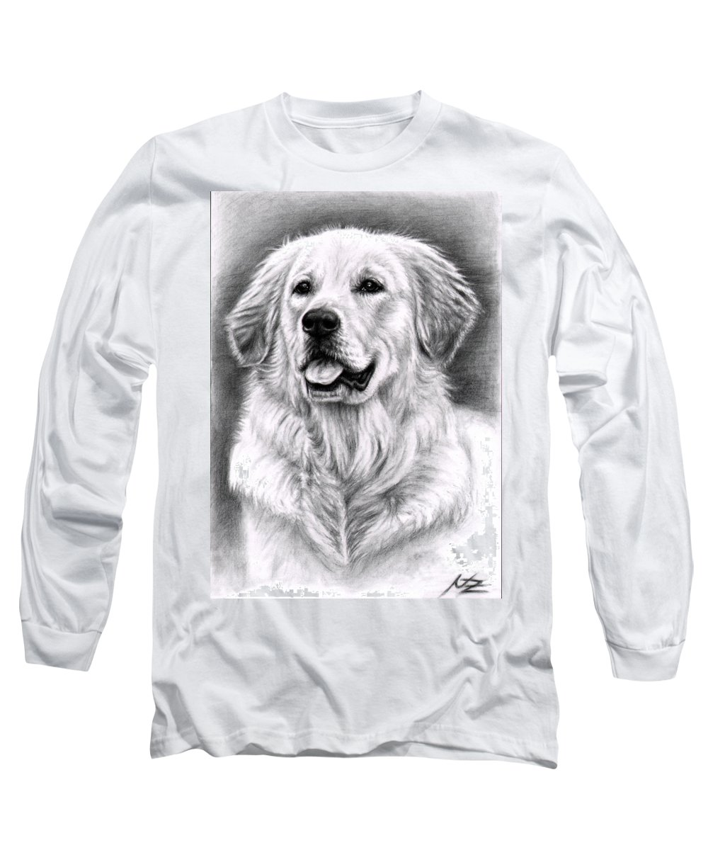 Dog Long Sleeve T-Shirt featuring the drawing Golden Retriever Spence by Nicole Zeug