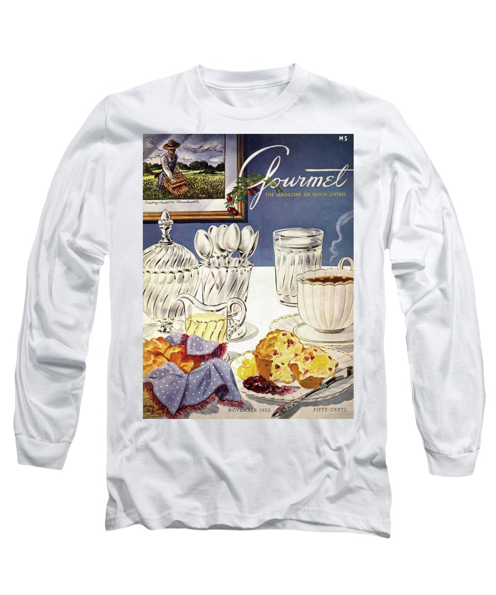 Food Long Sleeve T-Shirt featuring the photograph Gourmet Cover Illustration Of Cranberry Muffins by Henry Stahlhut
