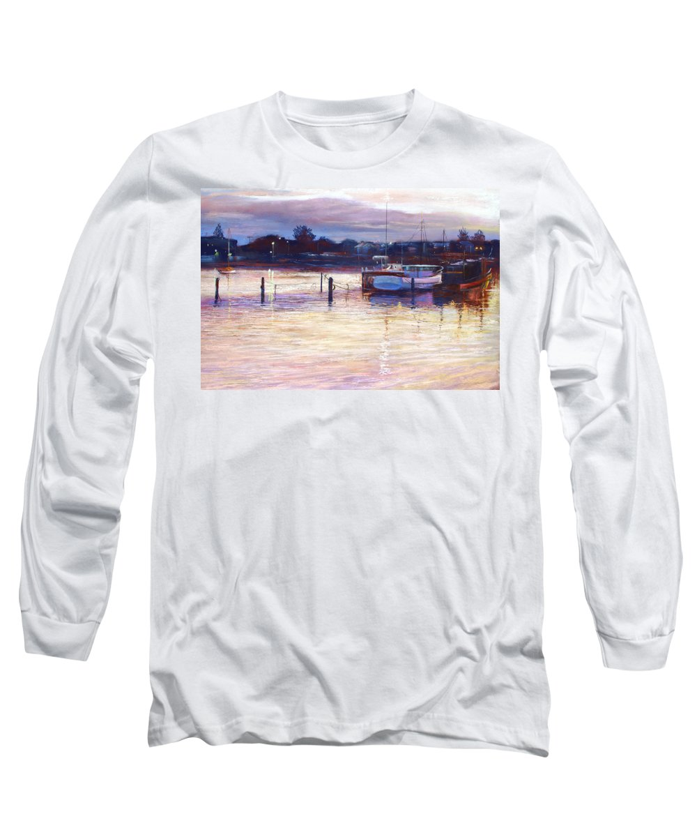 Lynda Robinson Long Sleeve T-Shirt featuring the pastel Harbour Lights - Apollo Bay by Lynda Robinson