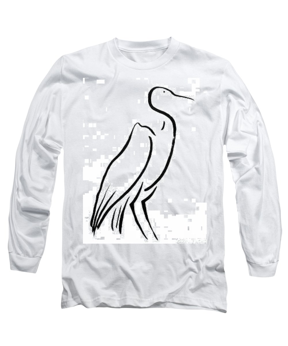 Calligraphy Long Sleeve T-Shirt featuring the drawing Heron by Micah Guenther