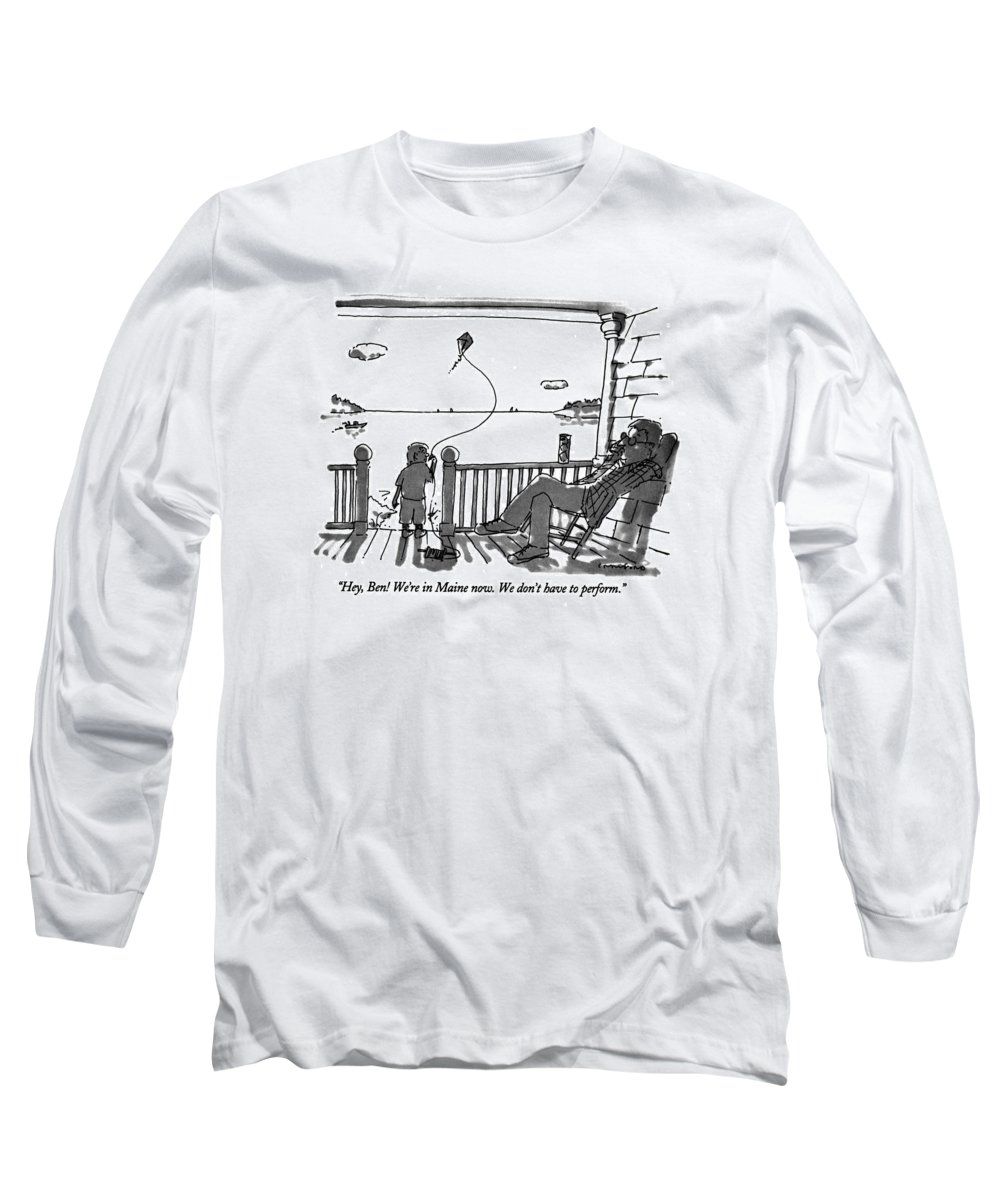 (father Talking To Child Flying Kite) Vacations Long Sleeve T-Shirt featuring the drawing Hey, Ben! We're In Maine Now. We Don't by Michael Crawford