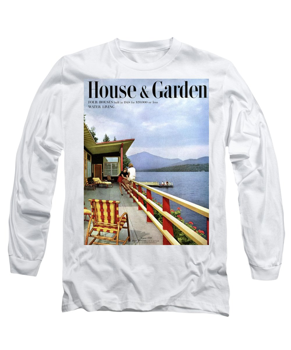 House & Garden Long Sleeve T-Shirt featuring the photograph House & Garden Cover Of Women Sitting On The Deck by Robert M. Damora