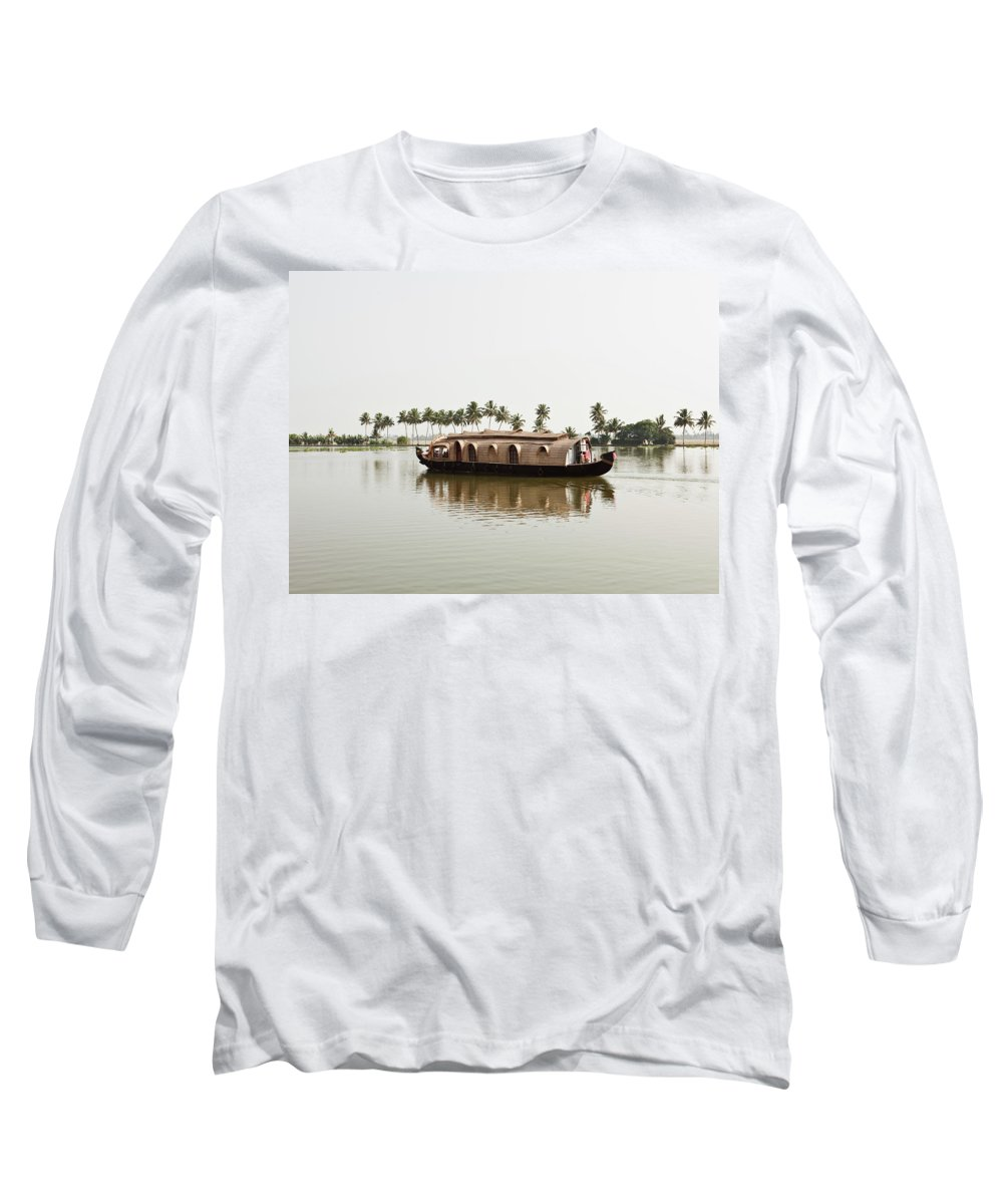 Canal Long Sleeve T-Shirt featuring the photograph Houseboat, India by Matthew Wakem