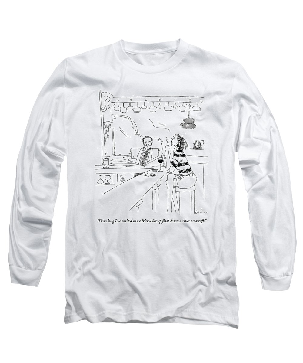 Entertainment Long Sleeve T-Shirt featuring the drawing How Long I've Waited To See Meryl Streep Float by Richard Cline