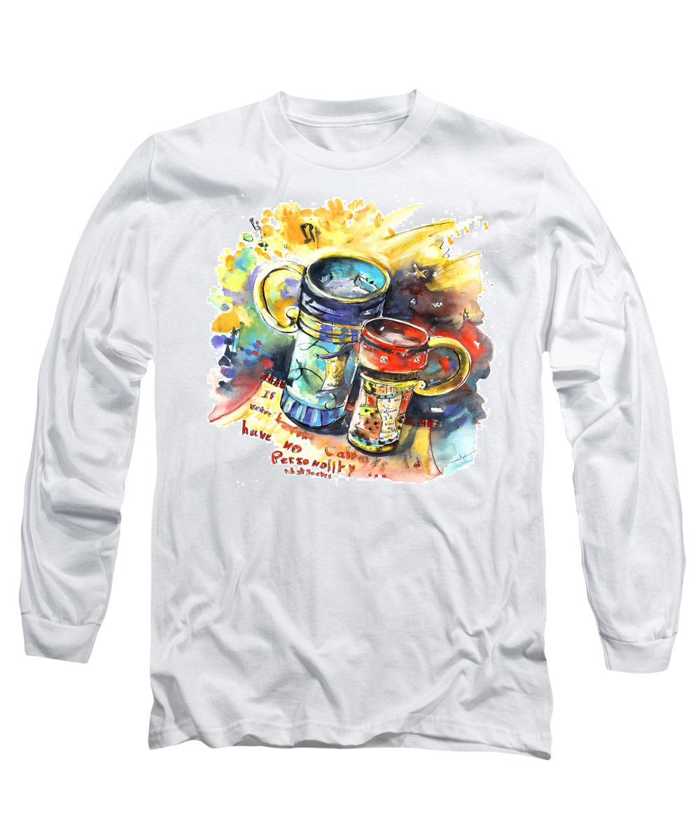 Cafe Crem Long Sleeve T-Shirt featuring the painting If It Were Not For Caffeine by Miki De Goodaboom
