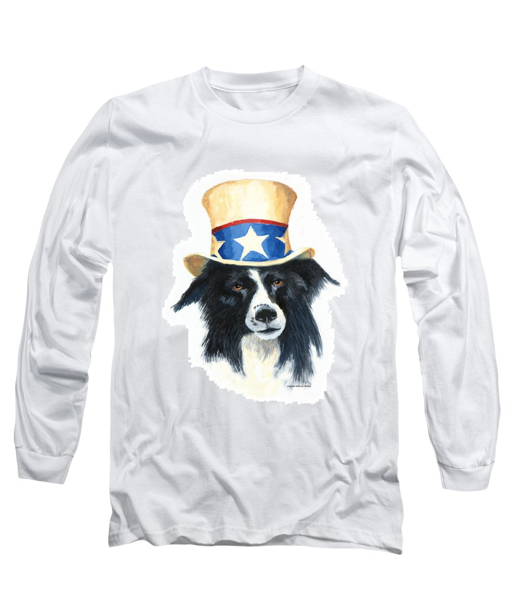 Dog Long Sleeve T-Shirt featuring the painting In Dog We Trust by Jerry McElroy
