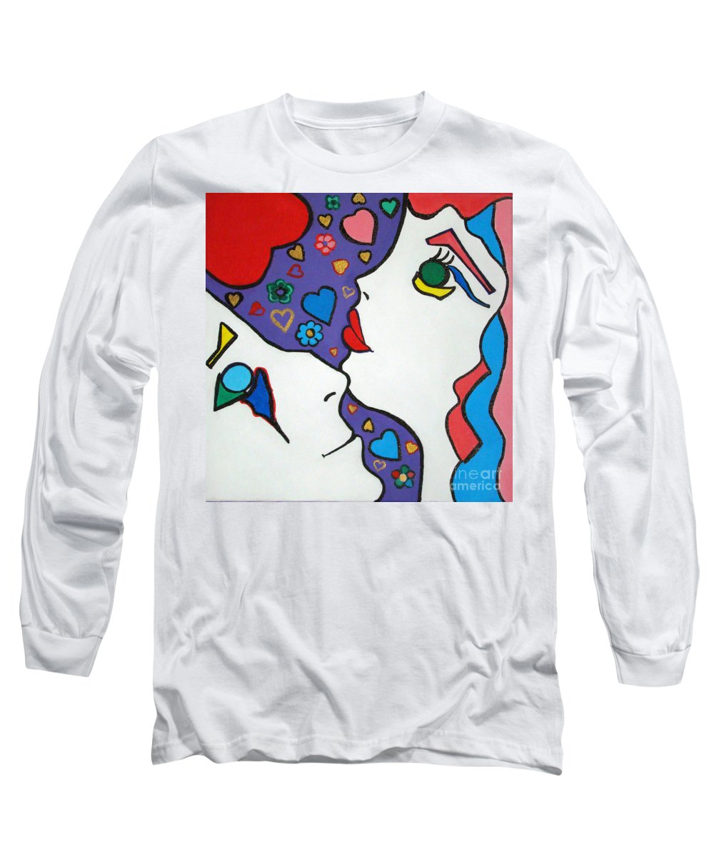 Pop-art Long Sleeve T-Shirt featuring the painting In Love by Silvana Abel