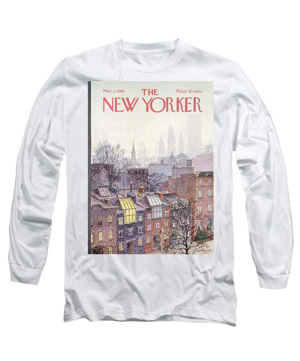 Albert Hubbell Ahu Long Sleeve T-Shirt featuring the painting New Yorker March 2, 1968 by Albert Hubbell