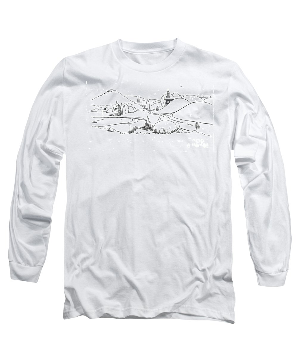 In The Land Of Brigadoon Long Sleeve T-Shirt featuring the drawing In The Land Of Brigadoon by Kip DeVore